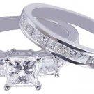 14K WHITE GOLD PRINCESS CUT DIAMOND ENGAGEMENT RING AND BAND 2.15CT H-VS2 EGL US