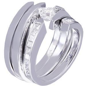 14K WHITE GOLD PRINCESS DIAMOND ENGAGEMENT RING BAND TENSION 1.25CT H-VS2 EGL US