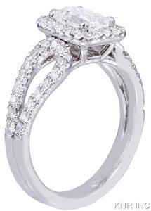 14K WHITE GOLD EMERALD CUT DIAMOND ENGAGEMENT RING HALO DECO 1.70CT H-VS2 EGL US