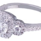 GIA G-SI1 18k White Gold Round Cut Diamond Engagement Ring Set Halo Prong 1.70ct