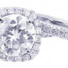 GIA H-VS2 18K White Gold Round Diamond Engagement Ring And Band Halo deco 2.52ct