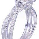14k White Gold Princess Cut Diamond Engagement Ring And Band 1.25ct F-VS2 EGL US