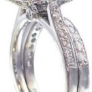 18K WHITE GOLD ROUND CUT DIAMOND ENGAGEMENT RING AND BAND HALO ART DECO 2.50CTW