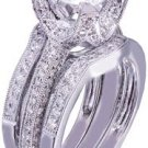 14k White Gold Round Cut Diamond Engagement Ring And Bands Art Deco style 2.15ct
