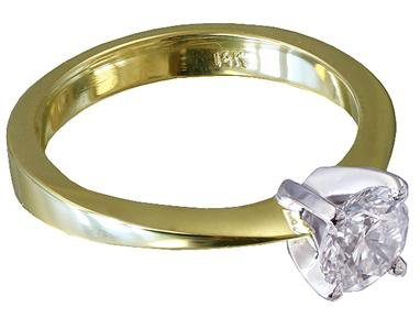 14k Yellow Gold Round Cut Diamond Engagement Ring Solitaire Prong Set 0.40ct