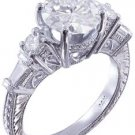 GIA H-SI1 14K WHITE GOLD ROUND DIAMOND ENGAGEMENT RING ANTIQUE DECO PRONG 2.10CT