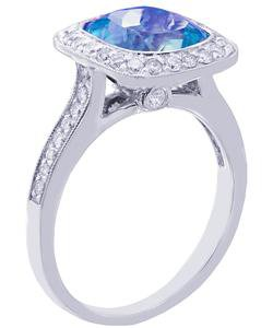 18K WHITE GOLD CUSHION CUT BLUE TOPAZ AND DIAMONDS ENGAGEMENT RING 3.00CTW