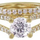 14K YELLOW GOLD ROUND CUT DIAMOND ENGAGEMENT SPLIT BAND RING AND BAND 2.00CT