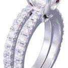 18k White Gold Cushion Cut Diamond Engagement And Band Prong 1.88ct F-VS2 EGL US