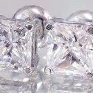 14k White Gold Princess Cut Diamonds Stud Earrings Screw Backs Prong Set 1.50ctw