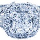 18k White Gold Cushion Cut Diamond Engagement Ring Antique Halo Pave Deco 1.15ct
