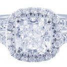 GIA H-VS2 18K WHITE GOLD CUSHION CUT DIAMOND ENGAGEMENT RING ART DECO 2.40CT