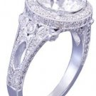 GIA J-VS2 18k white gold round cut diamond engagement ring art deco halo 2.70ctw