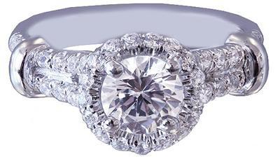 18k White Gold Round Cut Diamond Engagement Ring Art Deco Split Band Halo 1.15ct