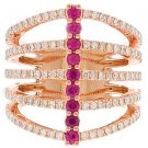 14k Rose Gold Round Cut Diamonds And Ruby Band Anniversary Prong Set 1.07ctw