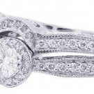 14K WHITE GOLD ROUND CUT DIAMOND ENGAGEMENT RING AND BAND ANTIQUE STYLE 2.52CTW