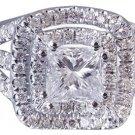 18k White Gold Princess Cut Diamond Engagement Ring Art Deco Triple Band 1.75ctw