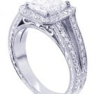 18K WHITE GOLD PRINCESS CUT DIAMOND ENGAGEMENT RING PRONG 2.10CTW H-SI1 EGL USA