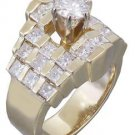 14K Yellow Gold Round and Princess Cut Diamond Engagement Ring Prong Set 1.40ctw