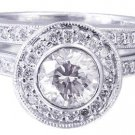 18k White Gold Round Diamond Engagement Ring And Band Bezel Set Halo 1.40ctw