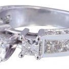 14K WHITE GOLD ROUND AND PRINCESS DIAMOND ENGAGEMENT RING PRONG CHANNEL 2.00CTW