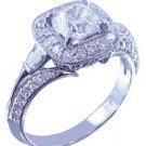 18k White Gold Cushion Cut Diamond Engagement Ring Antique Style Halo 1.55ctw