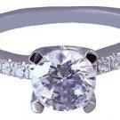 18K WHITE GOLD ROUND CUT DIAMOND ENGAGEMENT RING ART DECO STYLE PRONG SET 1.32CT