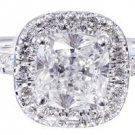 14k White Gold Cushion Cut Diamond Engagement Ring Art Deco Style  Halo 1.50ctw