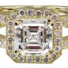 GIA H-VS2 18k Yellow Gold Asscher Cut Diamond Engagement Ring Halo DECO 2.70ctw