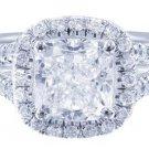 GIA H-SI1 18K White Gold Cushion Cut Diamond Engagement Ring Art Deco Halo 2.00c
