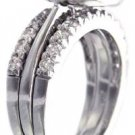 14K WHITE GOLD ROUND CUT DIAMOND BEZEL SET ENGAGEMENT RING AND BANDS DECO 2.10CT