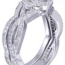 14k White Gold Round Cut Diamond Engagement Ring And Band Prong Set Deco 1.15ctw