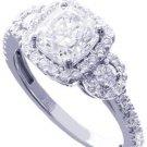 18K WHITE GOLD CUSHION CUT DIAMOND ENGAGEMENT RING ART DECO 2.28CT H-VS2 EGL USA