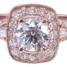 14k Rose Gold Round Cut Diamond Engagement Ring Antique Style Prong Set 1.95ctw