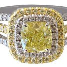 18K WHITE GOLD CUSHION CUT DIAMOND ENGAGEMENT RING FANCY YELLOW 2.40CT EGL USA