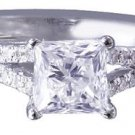 18k White Gold Princess Cut Diamond Engagement Ring Art Deco Split Band 1.50ct