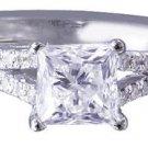 18K WHITE GOLD PRINCESS CUT DIAMOND ENGAGEMENT RING ART DECO SPLIT BAND 1.50CTW