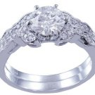 18k White Gold Round Cut Diamond Engagement Ring And Band Antique Style 1.15ctw