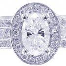 14K WHITE GOLD OVAL CUT DIAMOND ENGAGEMENT RING DECO ANTIQUE 3.95CT H-VS2 EGL US