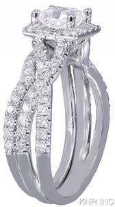 18K WHITE GOLD PRINCESS CUT DIAMOND ENGAGEMENT RING AND BAND SPLIT SHANK 1.50CT
