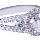 18K WHITE GOLD ROUND CUT DIAMOND ENGAGEMENT RING ART DECO SPLIT BAND 2.12CTW