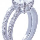 18K WHTIE GOLD CUSHION CUT DIAMOND ENGAGEMENT RING AND BAND 2.10CT EGL USA H-VS2