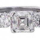 18K WHITE GOLD ASSCHER CUT DIAMOND ENGAGEMENT RING ART DECO ANTIQUE STYLE 1.98CT
