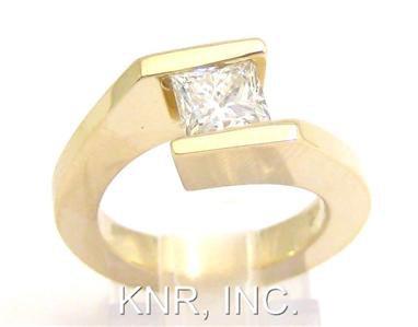 14K YELLOW GOLD PRINCESS CUT DIAMOND ENGAGEMENT RING TENSION SET 0.96CT