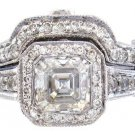 14K WHITE GOLD ASSCHER DIAMOND BEZEL ENGAGEMENT RING BAND 2.40CT H-VS2 EGL USA