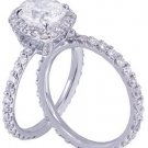 GIA H-VS2 14k White Gold Cushion Cut Diamond Engagement Ring And Band 3.00ct
