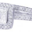 18K WHITE GOLD CUSHION CUT DIAMOND ENGAGEMENT RING & BAND BEZEL 1.69CT H-VS2 EGL