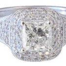18K WHITE GOLD PRINCESS CUT DIAMOND ENGAGEMENT RING HALO ART DECO 1.65CTW