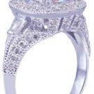 GIA H-VS2 18k White Gold Asscher Cut Diamond Engagement Ring Etoile Deco 2.85ctw
