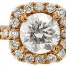 18K ROSE GOLD ROUND CUT DIAMOND ENGAGEMENT RING PRONG SET ART DECO DESIGN 1.52CT
